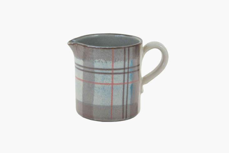 tartan even makes its way onto stoneware like this isobel anderson milk jug; � 16