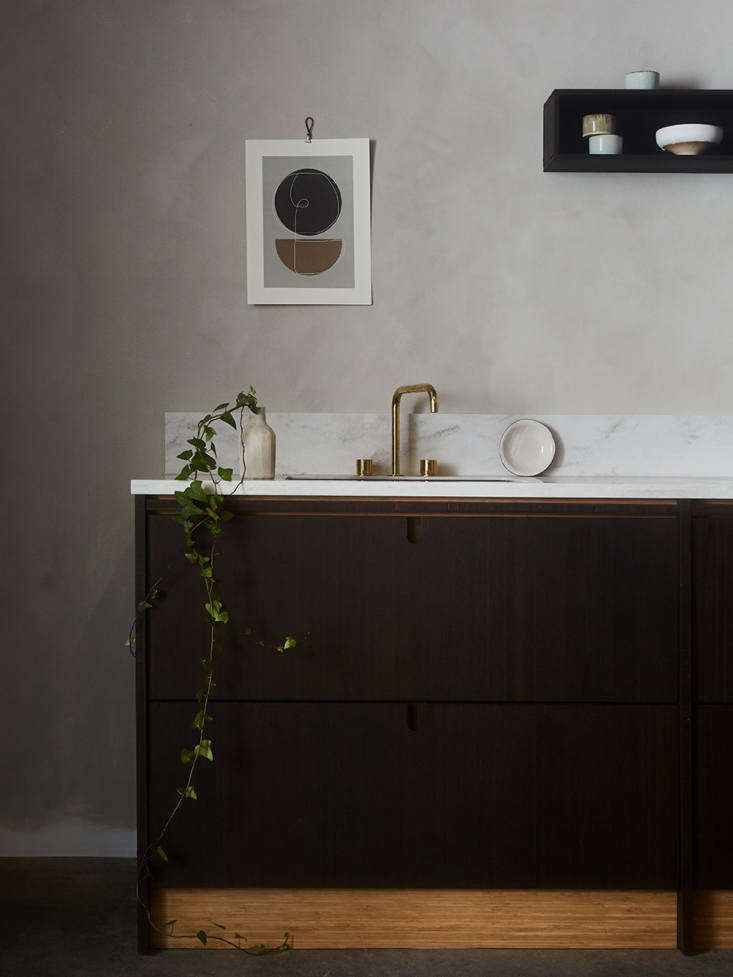 Ikea Elevated Kitchen Cabinet Fronts Made of a Surprise Sustainable Material Ask og Eng&#8\2\17;s Bean finish is dark brown with &#8\2\20;subtle grain stripes that shimmer and change in the light.&#8\2\2\1; All of the company&#8\2\17;s Ikea fronts are sanded smooth, treated with pigmented oil, and then sealed with hard wax oil from Osmo to make them water  and spill resistant. Because countertops are heavy and costly to ship, most customers source their own locally.