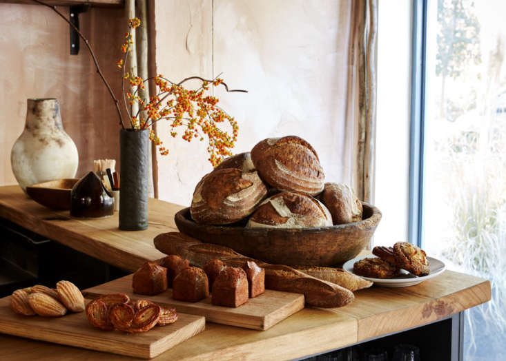 madeleines, financiers, palmiers andnaroques bread made from french grains on 13