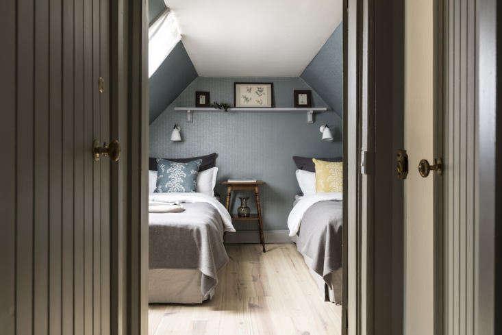 A blue bedroom in Kennels Cottage.