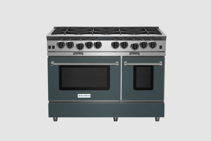 The Blue Star 48-Inch Platinum Series Range, shown in Green Blue (RAL 500loading=