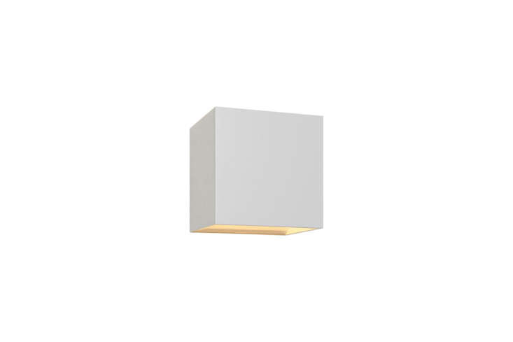 The Bruck QB White LED Wall Sconce has a white-painted aluminum construction; $