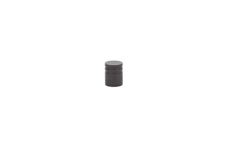 The Emtek Metric Knob, shown in oil-rubbed bronze, is one inch in diameter; $9.06 at Door Hardware Center.