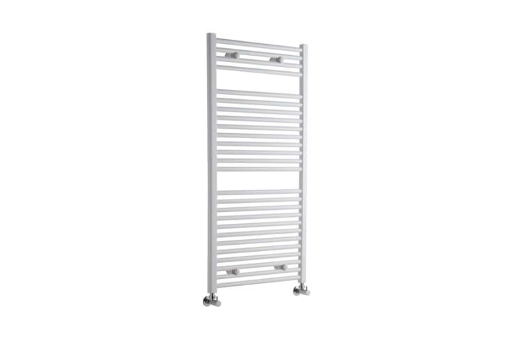 For a similar wall-mounted towel warmer, the Etna Hydronic White Heated Towel Warmer measuring 47. by .5 inches and available with angled or straight valves; $9.95 at Hudson Reed.
