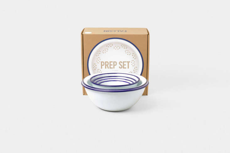 Steal This Look A Botanical Stylists Creative Kitchen Remodel in London The Falcon Prep Set in White with Blue Rim is \$90 at Falcon Enamelware.