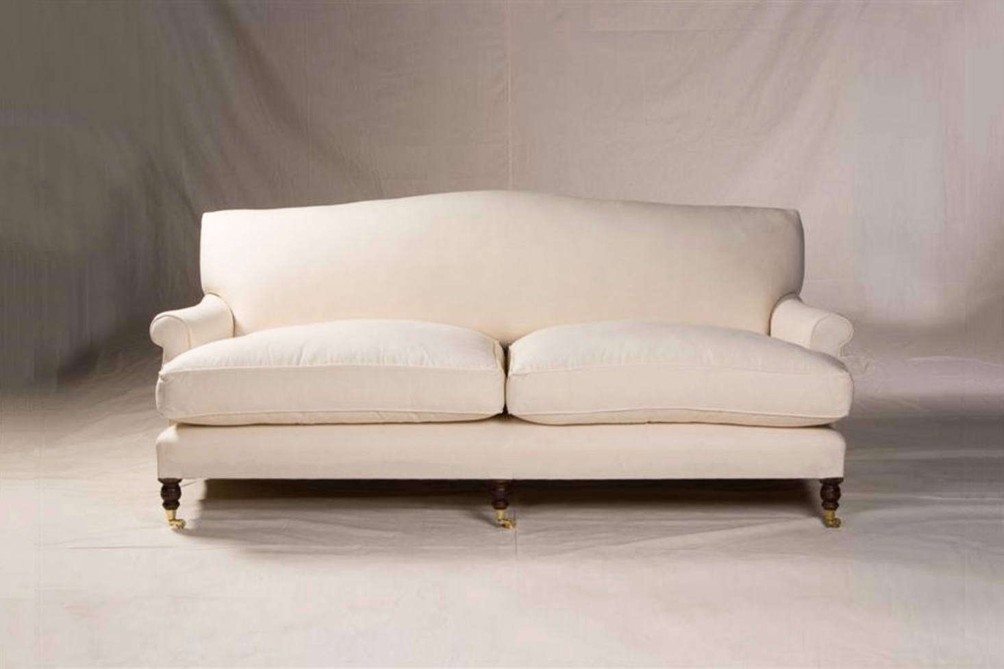 The George Sherlock sofa is the exemplar English roll arm sofa. Shown here is the Extended Mac Sofa