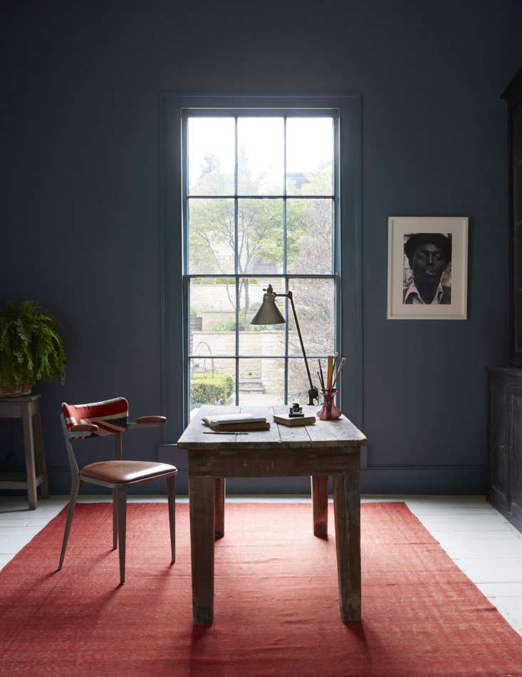 Mamma Mia Music Producer Nick Gilpins Stylishly Revived Georgian Manse For Nick&#8\2\17;s home office, Howe supplied a pine table and BA3A Ernest Race Armchairwith a Union Jack patterned backrest. The rug is another vintage Swedish design. The walls are Farrow & Ball&#8\2\17;s Claydon Blue.