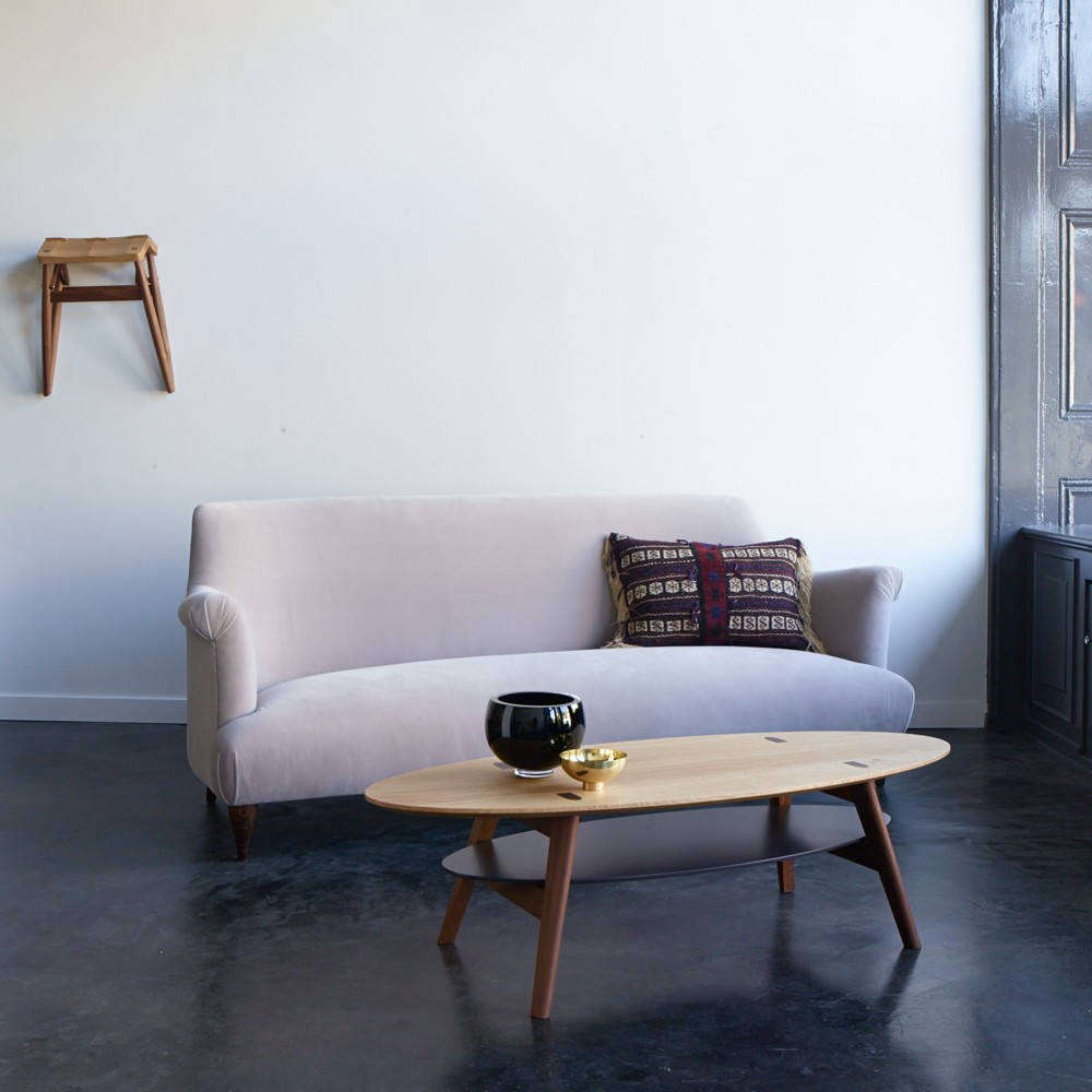 Designed by Russell Pinch for The Future Perfect, the Goddard Sofa has an elegantly curved silhouette (see our postHigh/Low: The Curvy Sofa) and is available in four shades of velvet or customer&#8