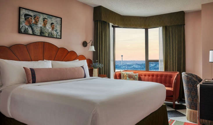 rooms either have views of the puget sound, mount rainier, or downtown seattle. 14