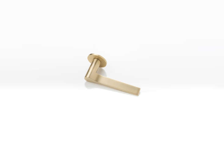 The Joseph Giles LV45 Fonteyn Solid Brass Lever Handle with a unique rota-bearing sprung rose is available in Brushed Brass Waxed (shown), Polished Wax Brass, and Mid Antique Brass Waxed. Contact Joseph Giles for price and ordering information.