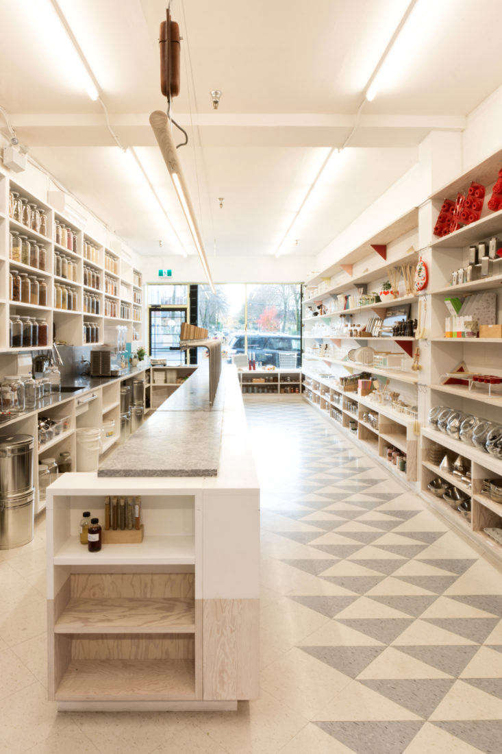 Shoppers Diary Kitchen Staples A DesignForward ZeroWaste Store in Vancouver &#8\2\20;There are two equal halves—one for TheSoapDispensaryand one for Kitchen Staples—with a walk through at the front for the public and at the rear for the staff,&#8\2\2\1; says David. Pictured is the interior view of Kitchen Staples, facing toward the street.