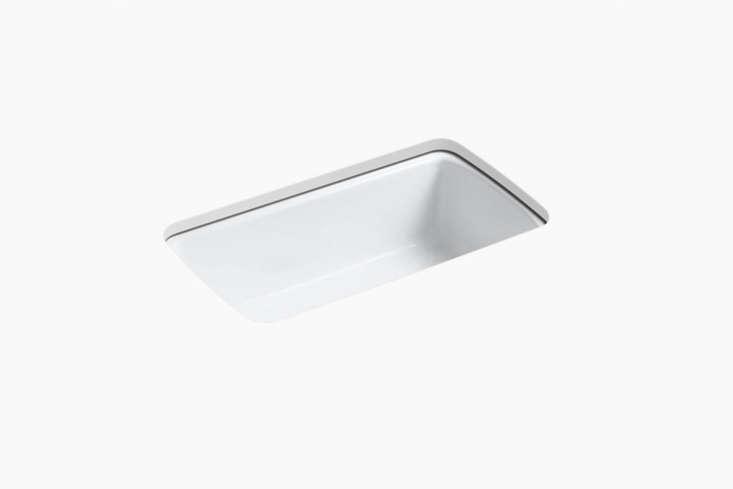 The Kohler Cape Dory Under-Mount Single-Bowl Kitchen Sink is similar to the large white kitchen sink seen here; $859 at Kohler.