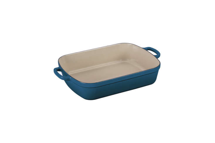 The Le Creuset 7-Quart Signature Cast Iron Rectangular Roaster, shown in Marseille but available in a range of colors, is $9.95 at Amazon.