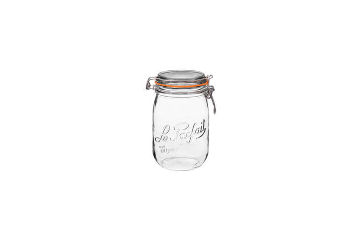 Steal This Look A Botanical Stylists Creative Kitchen Remodel in London The Le Parfait Super Glass Storage Jar is \$38.90 for a set of four on Amazon.