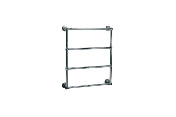 For a traditional style, look to Lefroy Brooks for their Classic 00 Electric Ball Jointed Wall-Mounted Towel Warmer for $3,7 at Quality Bath.