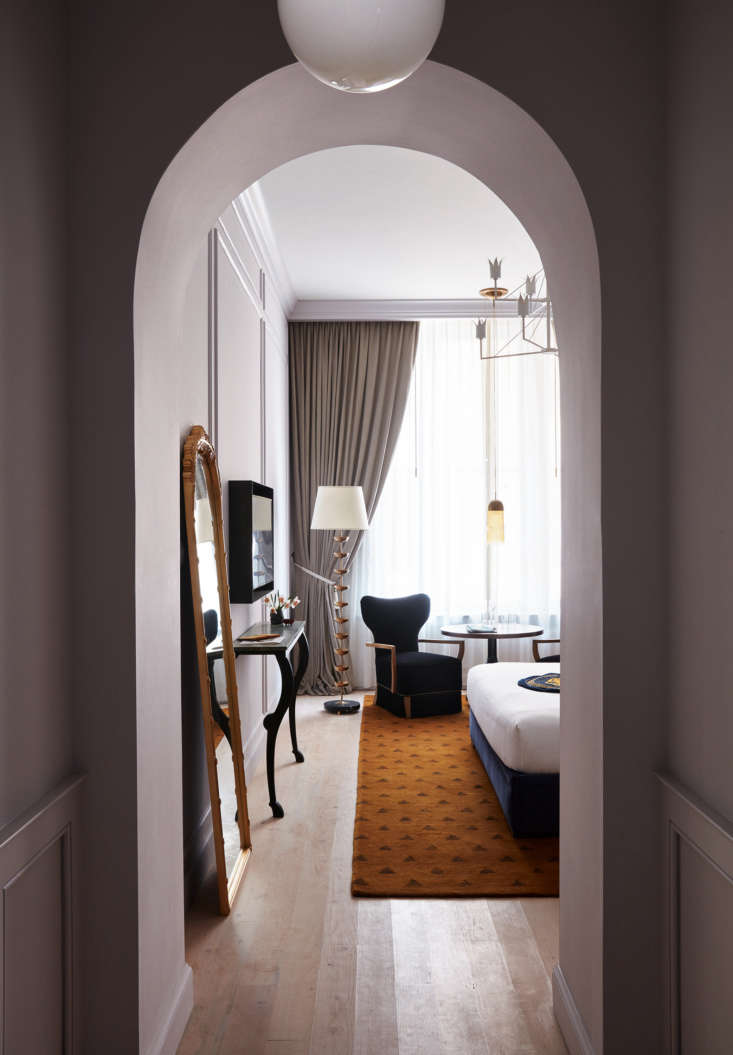 Into one of the Studio Shamshiri-designed guest rooms, in jewel-box tones. The 67-room guest house is across from the original Ace Hotel New Orleans in, surprisingly, a former office building.