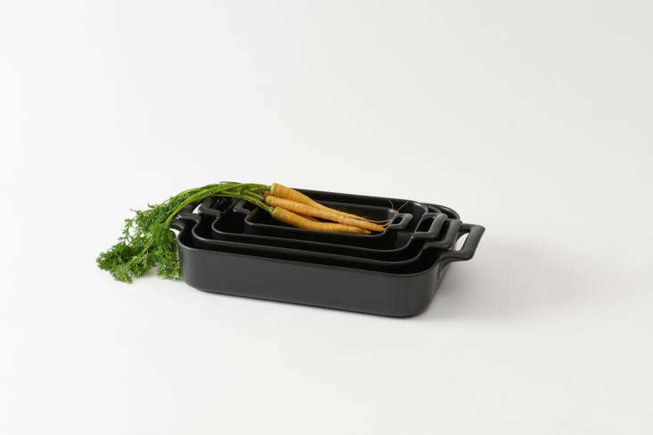One of our staff favorites is the Revol Black Rectangular Roasting Dish, made in France from lightweight porcelain and available in four sizes; $40 to $0 per dish depending on size at March. You can also find a set of 3 for $9 directly through Revol.