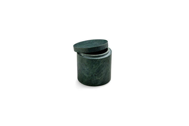 The Nordstjerne Small Marblelous Canister in green marble with a lid is 499 KR (or about $75 USD) at Nordstjerne.