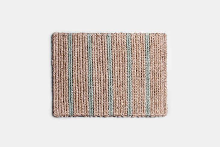 the braided doormat in seafoam stripe is \$\150. 14