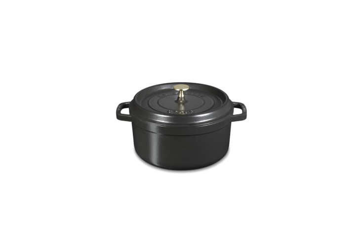 Steal This Look A Botanical Stylists Creative Kitchen Remodel in London The 4 Quart Staub Cast Iron Dutch Ovenis \$\285 at Williams Sonoma.