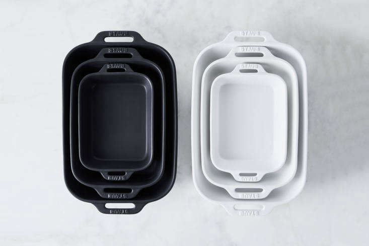The Staub Matte Ceramic Rectangular Baking Dish, available in Matte Black or Matte White, is $49 for a set of