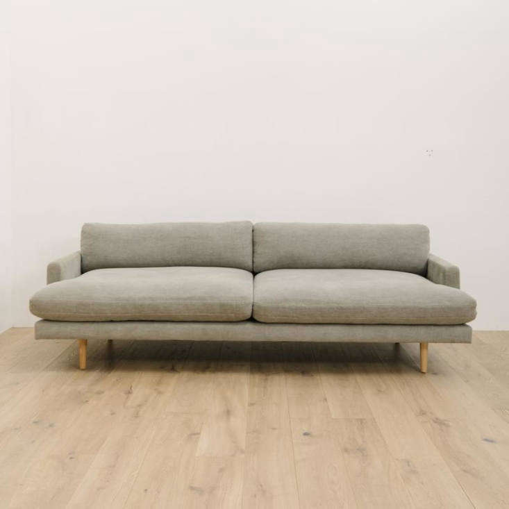 the deep seated midcentury inspired billie sofa features oak legs; from \$5,700. 11