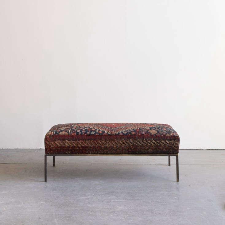 the chautauqua ottoman xxxvi features a top cushion upholstered with a vintag 12