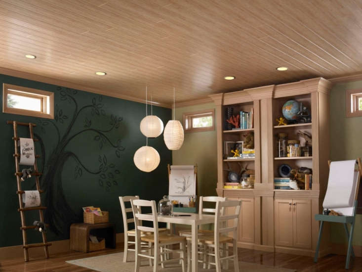 Remodeling Hack An Easy and Affordable Way to Update Your Basement Armstrong Ceilings&#8\2\17; WoodHaven planks come in several wood tones including Rustic Pine, White Wash, and even Bamboo(shown).