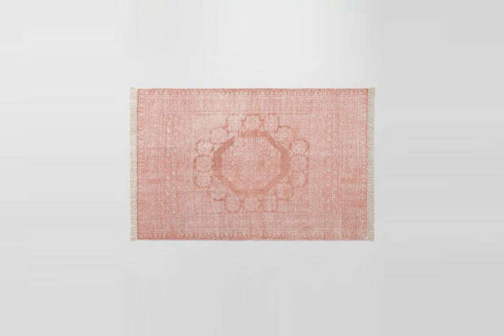 a more subtle option: theblush cotton dhurrie print ariana area rugisflat 12
