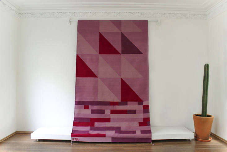 the emma rug from mexico based company bi yuu is awash in a range of pink hues; 22