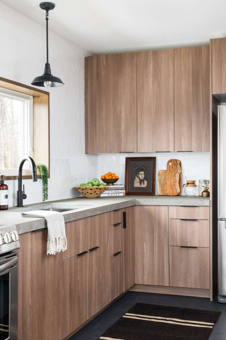 To stay on budget, the designer of this Hatfield, MA, home opted for Ikea cabinet boxes with Semihandmade fronts. See more inKitchen of the Week: An Eco-Friendly, Elevated Ikea Kitchen in a Family&#8