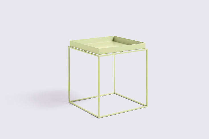 The HAY Tray Side Table, shown here in Soft Yellow, comes in a range of colors; $5 at HAY.