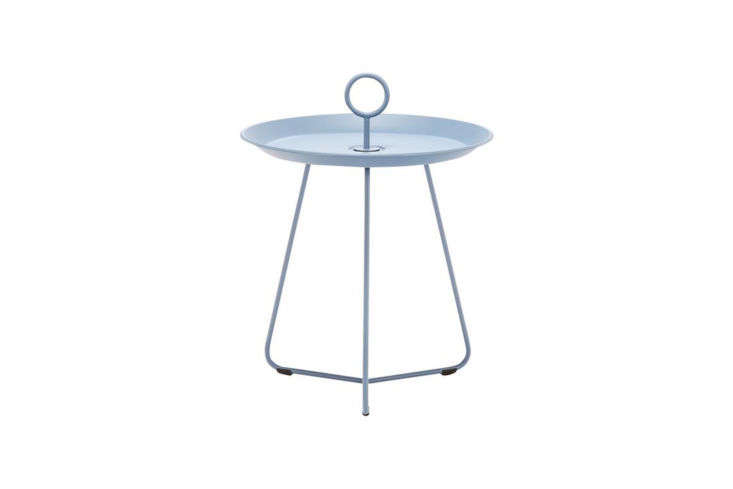 Designed by Henrik Pedersen for Houe, the Eyelet Outdoor Tray Table comes in Pigeon Blue (shown), Dusty Green, and other neutral shades; $0 at Danish Design Store.