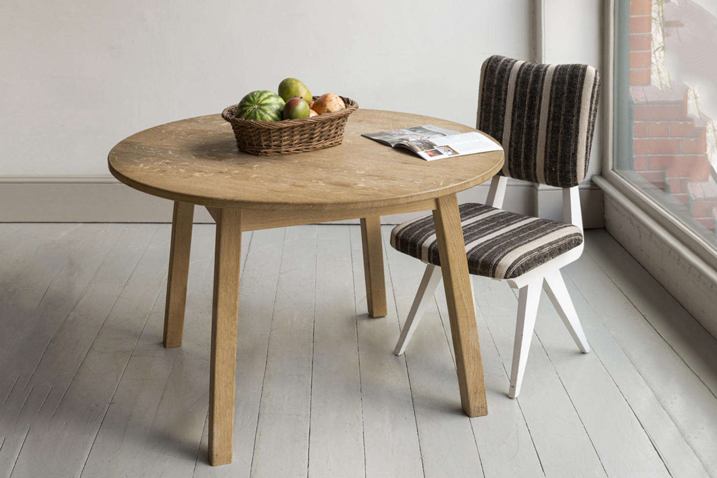 The dining table is the Howe Arts & Crafts Round Breakfast Table that comes in a range of painted wood and finishes. The table inHarding&#8