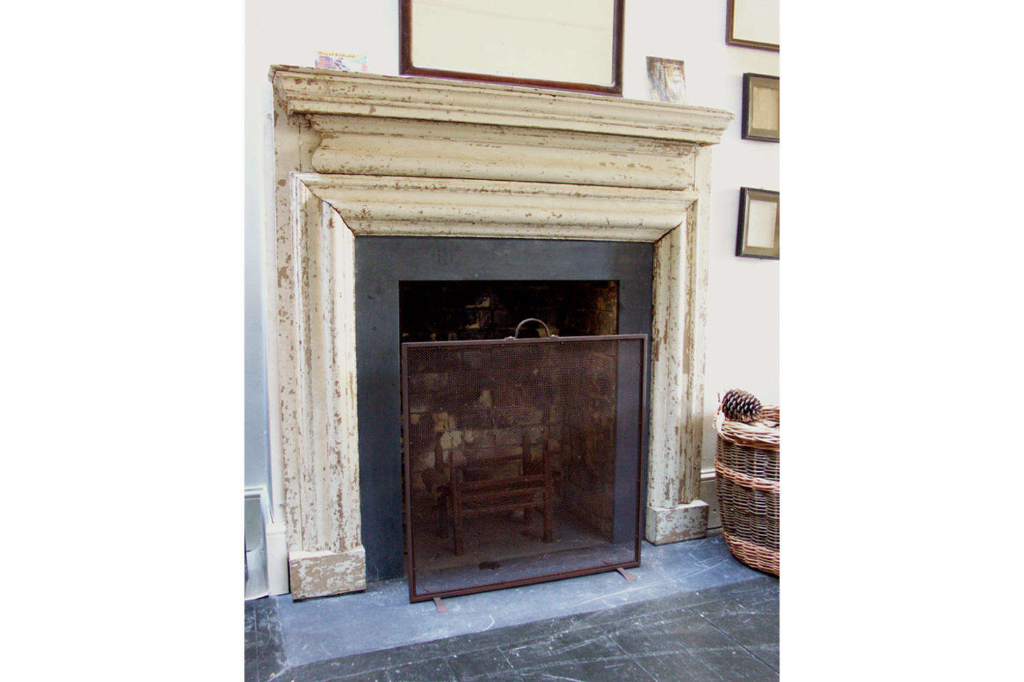 The fireplace mantel is the Howe Bolection Fire Surround, n English th century style made inScandinavian Redwood pine.Contact for price and ordering information.