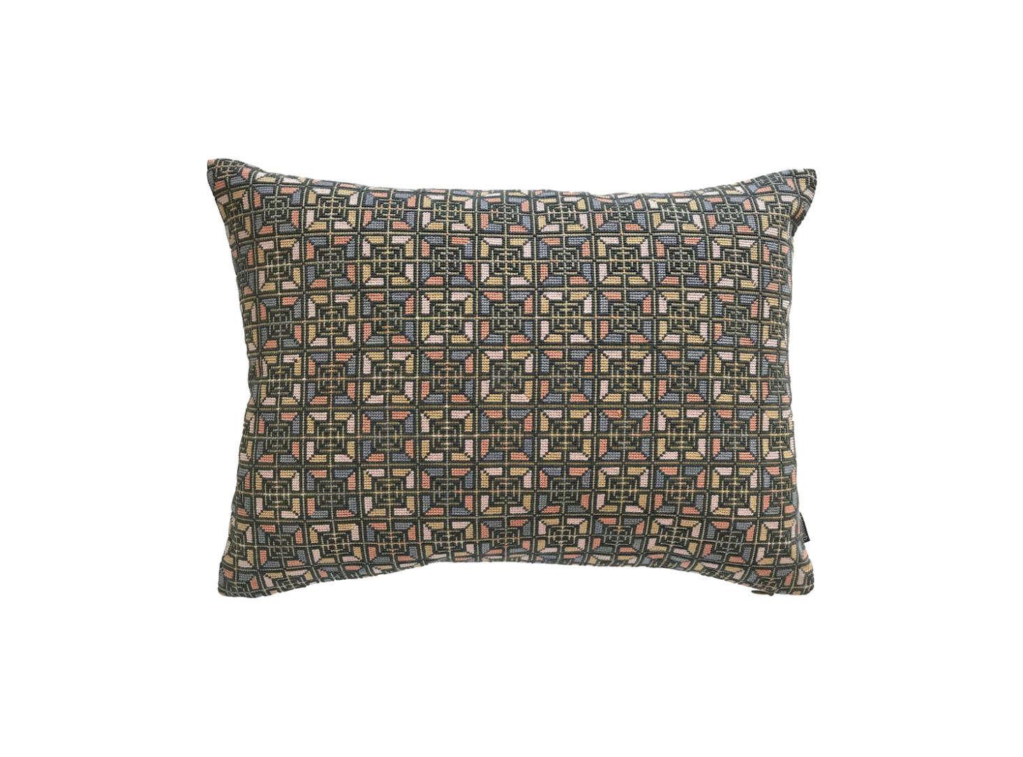 The Rana Pillow has a gray Italian linen back; $350.