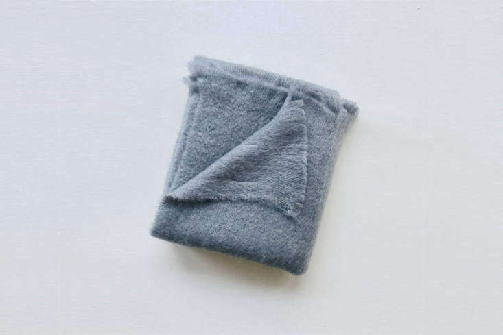 The Lostine Mohair Throw in Slate Grey is made in Ireland; $