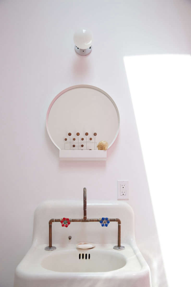 as in the master bath: a salvaged sink, diy copper faucet, and ypperlig mirror. 28
