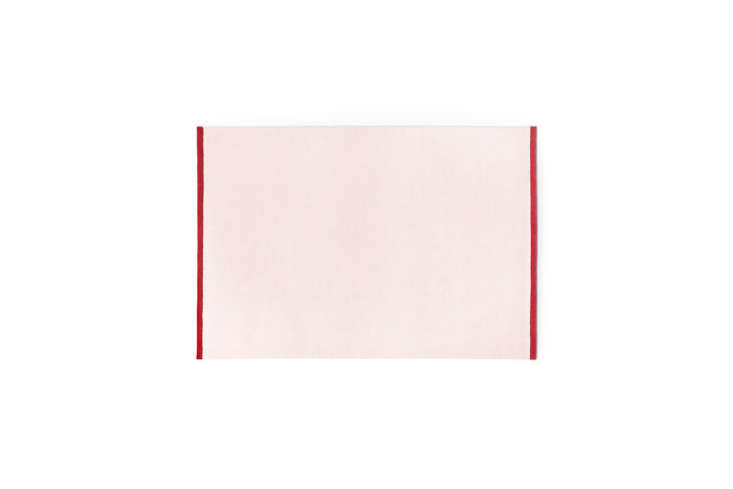 the solid pink/red rugby nordic knots has a pale pink body and red edges; sta 17