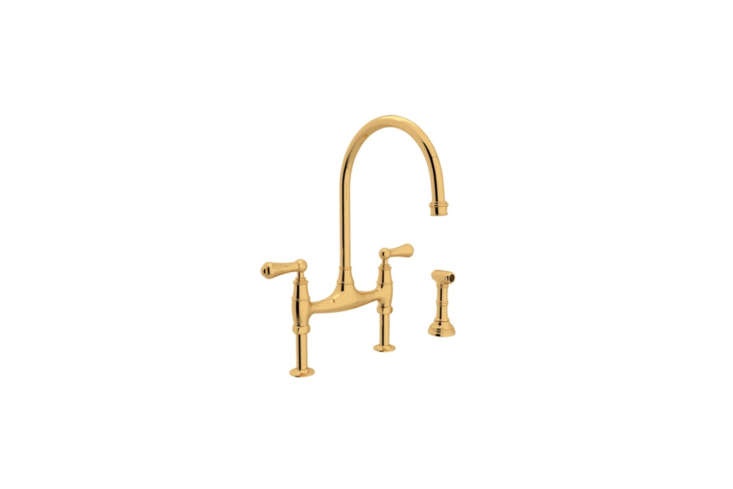 The brass bridge faucet is a Plain English reclamation yard special. For something similar the Rohl Unlacquered Brass Bridge Faucet is $loading=