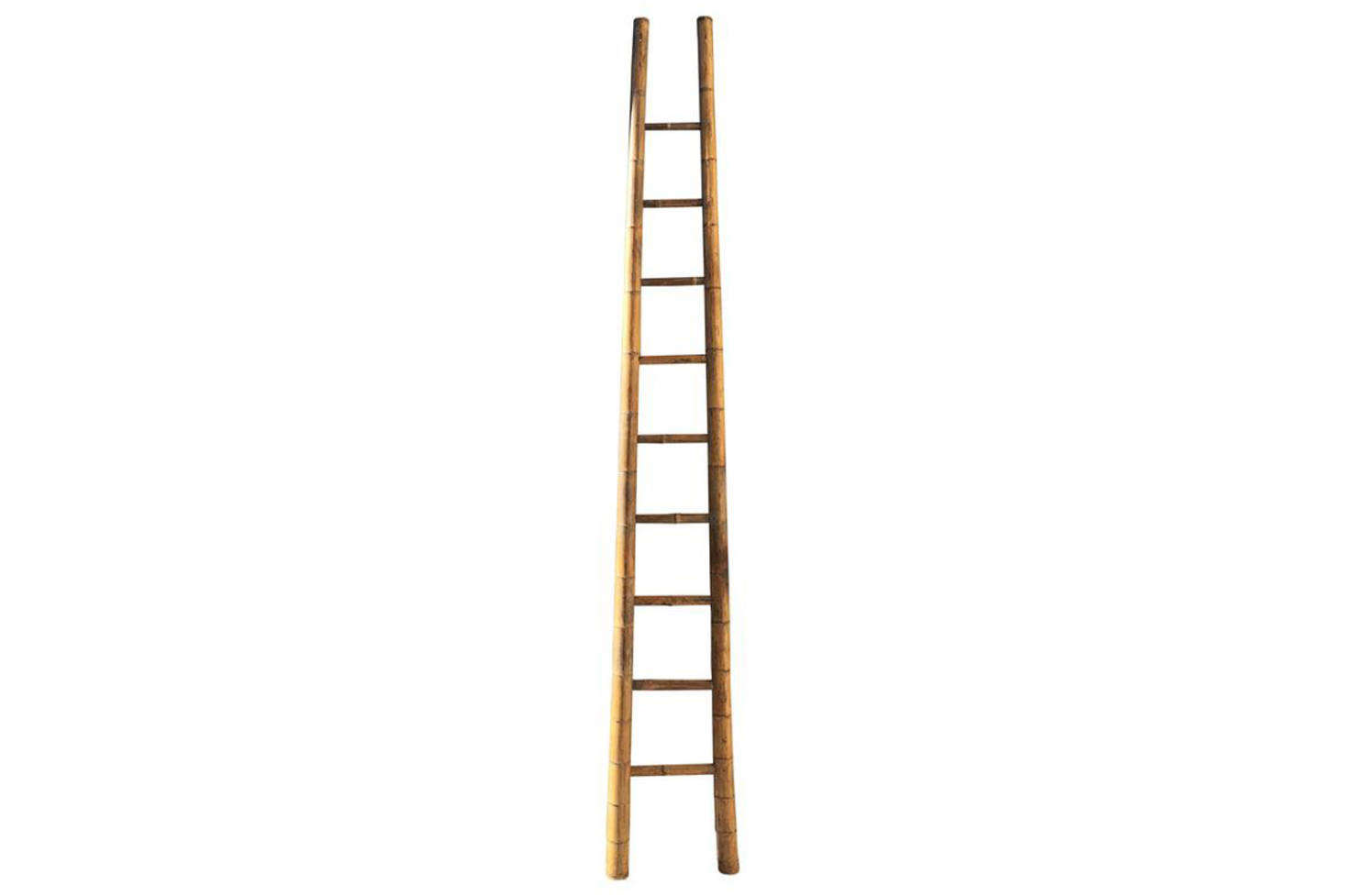 Leaning against the back kitchen wall is a French apple picking ladder that functions as a dish towel rack. For something similar, src=