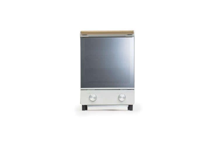 The Amadana Toaster Oven Vertical Type measures a little under 9 inches wide and  inches high and is made with a leather wrapped handle; $8.70 in White on Amazon. It&#8