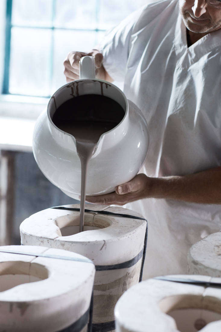 clay slip is poured into a jug mold—the same molds burleigh has been using fo 10