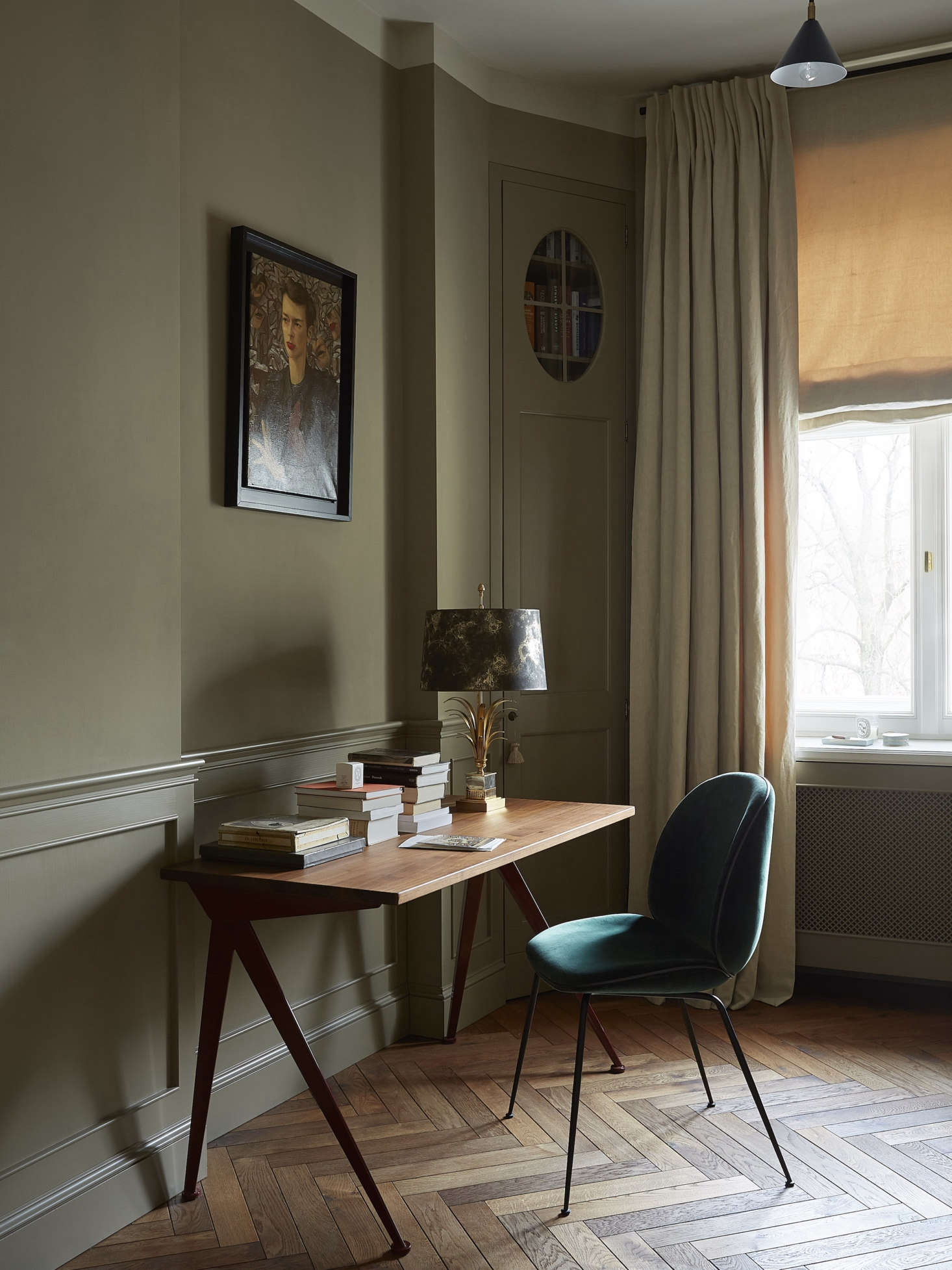 Another Farrow & Ball color, a moody Mouse's Back, was used in this office by Colombe Design. Photograph by Kasia Gatkowska, courtesy of Colombe Design, from Creative Flow: A Novelist&#8