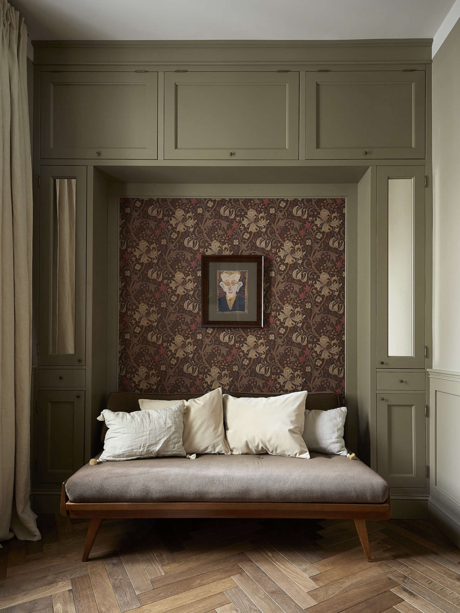 A quiet corner from Creative Flow: A Novelist's Elegant Pied-a-Terre by Colombe Studio. Photograph byKasia Gatkowska, courtesy of Colombe Studio.