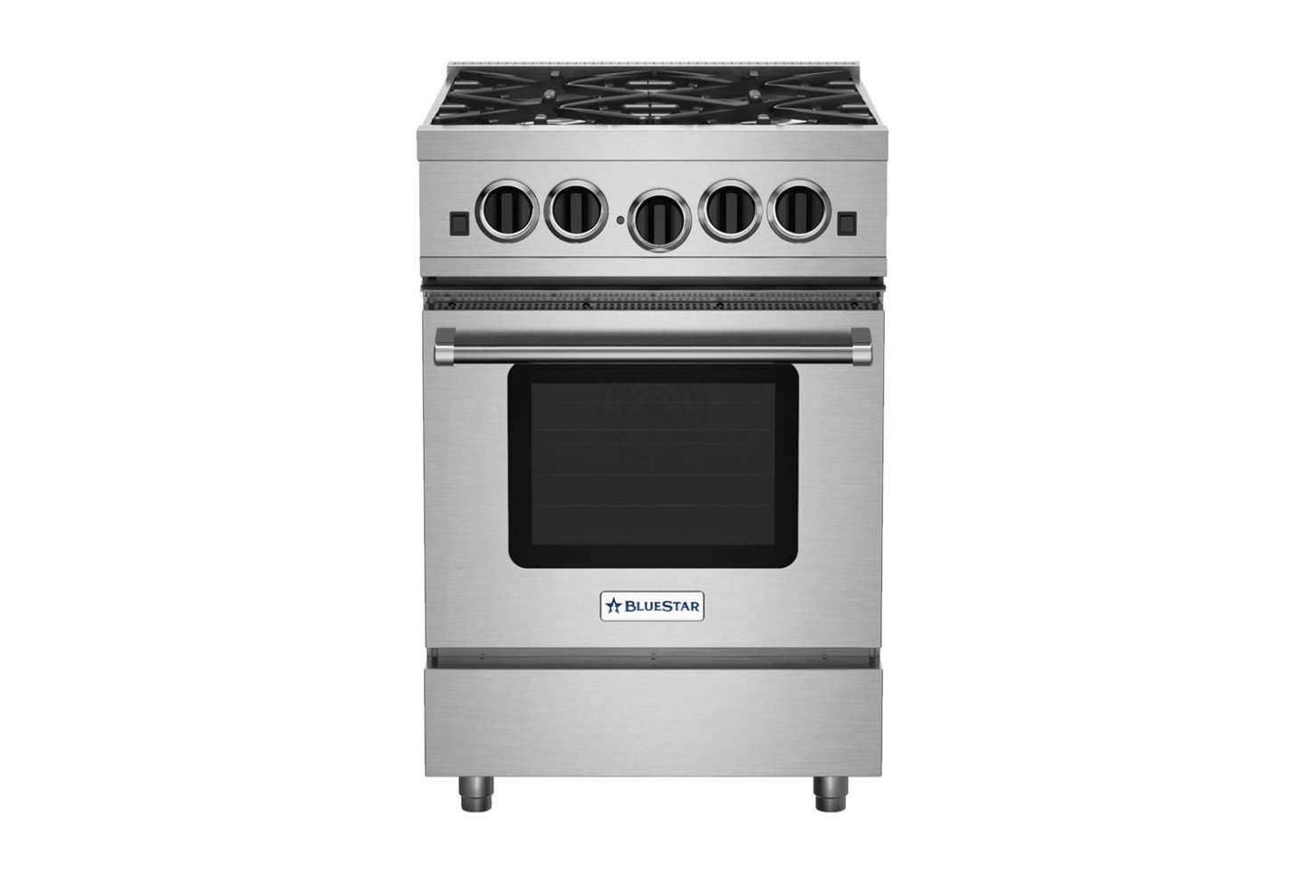 Professional performance downsized: The BlueStar -Inch Culinary Series Sealed Burner Rangein stainless steel has four open burners with up to