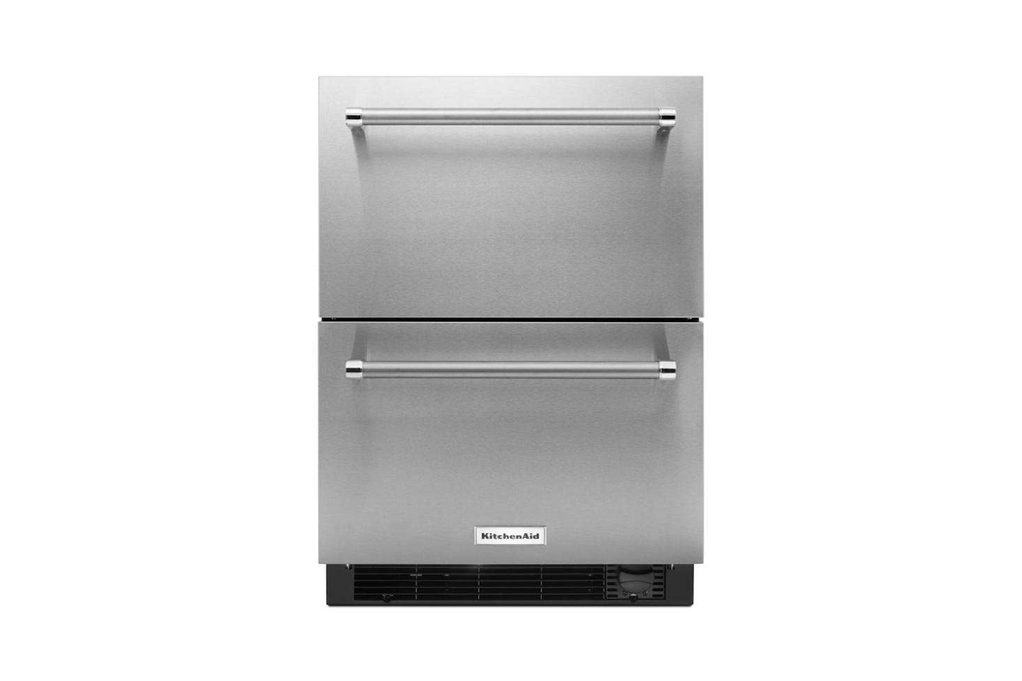 No room for a standard-height fridge? Consider the dorm-sized but sophisticated-lookingKitchenAid Double Drawer Refrigerator Freezer; $
