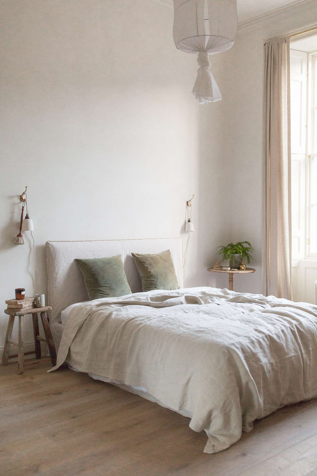 """The walls are limewashed in a warm neutral. """"The process is easy and very forgiving,"""" Nina told Margot. """"The effect achieved depends on the brushstrokes you use: you can get an almost solid color or more of a plaster look."""""""