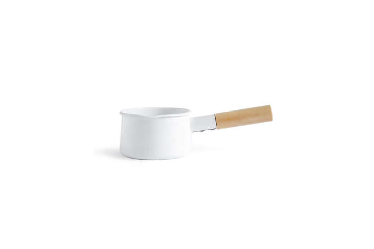 a classic pan for warming milk or broth, the kaico enamelware milk pan designed 13