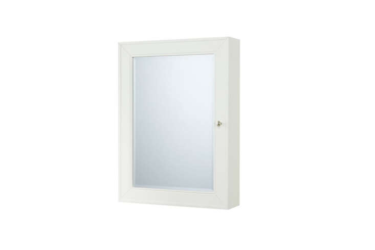 The simple white Classic Wall-Mounted Medicine Cabinet with glass shelves and a nickel pull is $9 to $349 depending on size fromPottery Barn.